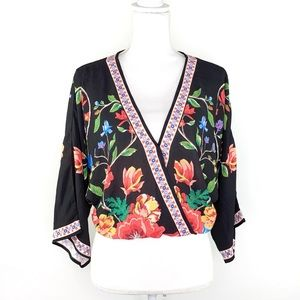 Flying Tomato Floral Print Faux Wrap Crop Top